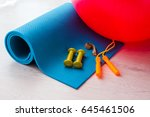fitness concept   yoga mat ... | Shutterstock . vector #645461506