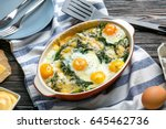 baking dish with delicious... | Shutterstock . vector #645462736