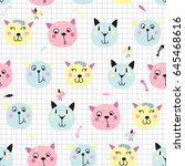 seamless background with cute... | Shutterstock .eps vector #645468616