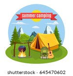 summer camp. landscape with... | Shutterstock . vector #645470602