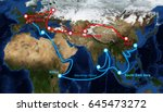 one belt one road route map... | Shutterstock . vector #645473272