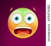 cute scared emoticon on black... | Shutterstock .eps vector #645474382