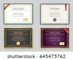 big set of diploma or... | Shutterstock .eps vector #645475762