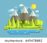 mountain lake forest landscape... | Shutterstock .eps vector #645478882