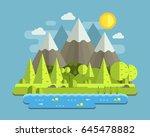 mountain lake forest landscape...   Shutterstock .eps vector #645478882