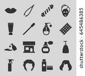 cosmetic icons set. set of 16... | Shutterstock .eps vector #645486385