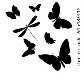 black butterfly  isolated on a... | Shutterstock .eps vector #645486412