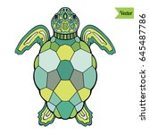colorful sea turtle vector... | Shutterstock .eps vector #645487786