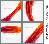abstract geometric red lines... | Shutterstock .eps vector #645493702