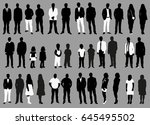 silhouette of people black and... | Shutterstock . vector #645495502