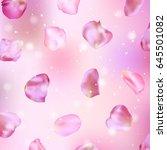 pink rose petals. realistic... | Shutterstock .eps vector #645501082