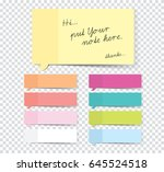 set of sticky stickers with... | Shutterstock .eps vector #645524518