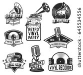 set of retro party emblems.... | Shutterstock .eps vector #645534556