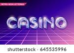 retro neon glowing glass casino ... | Shutterstock .eps vector #645535996
