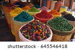 spice shop on the jemaa el fna... | Shutterstock . vector #645546418