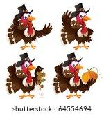 four cartoon turkeys in a...