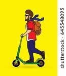 hipster man riding kick scooter ... | Shutterstock .eps vector #645548095