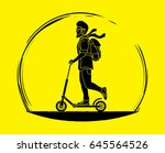 hipster man riding kick scooter ... | Shutterstock .eps vector #645564526
