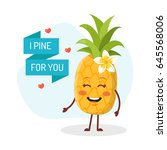 i pine for you. card with cute... | Shutterstock .eps vector #645568006