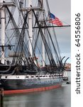 USS Constitution Battleship with American Flag in Boston Harbor - stock photo