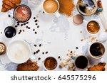 variety of coffee in ceramic... | Shutterstock . vector #645575296