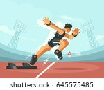 athlete sprint start | Shutterstock .eps vector #645575485