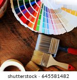 various painting tools and... | Shutterstock . vector #645581482