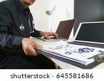 smart medical doctor working... | Shutterstock . vector #645581686