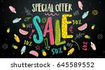 sale banner. trendy watermelon  ... | Shutterstock .eps vector #645589552