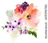 bouquet of watercolor flowers... | Shutterstock . vector #645590782