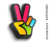 vector icon with colorful hand... | Shutterstock .eps vector #645594382
