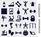 gym icons set. set of 25 gym... | Shutterstock .eps vector #645598516