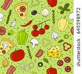 seamless pattern with pizza... | Shutterstock .eps vector #645598972