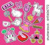 little princess stickers ... | Shutterstock .eps vector #645606772