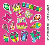 happy birthday party stickers ...   Shutterstock .eps vector #645606805