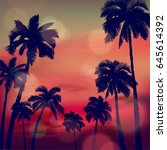 summer tropical background with ... | Shutterstock .eps vector #645614392