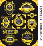 golden royal labels on black... | Shutterstock .eps vector #64562296