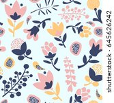 abstract flowers seamless... | Shutterstock .eps vector #645626242