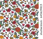 floral seamless pattern.... | Shutterstock .eps vector #645629815