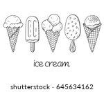 set of hand drawn ice cream... | Shutterstock .eps vector #645634162
