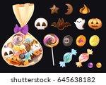 sweet dessert vector set for... | Shutterstock .eps vector #645638182