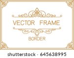 gold photo frame with corner... | Shutterstock .eps vector #645638995