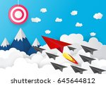 paper plane launch to success... | Shutterstock .eps vector #645644812