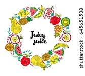 round frame. fruits  apple ...   Shutterstock .eps vector #645651538