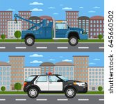 tow truck and police car in... | Shutterstock .eps vector #645660502