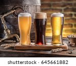 glasses of beer and ale barrel... | Shutterstock . vector #645661882