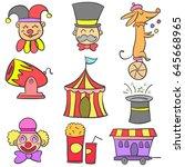 vector art circus object doodles   Shutterstock .eps vector #645668965