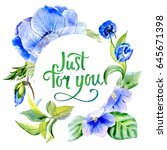 wildflower anemone flower frame ... | Shutterstock . vector #645671398