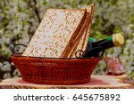 pesach matzo passover with wine ... | Shutterstock . vector #645675892