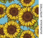 sunflower vintage seamless... | Shutterstock .eps vector #645677602